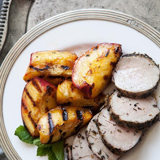 Herbed Grilled Pork Tenderloin with Peaches.