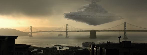 Photo: Dual-Monitor Wallpaper of the Day  A star destroyer over #SanFrancisco's #GoldenGateBridge!  The album: https://plus.google.com/photos/113858797523322684974/albums/5894547191044530097  The images are all at least 3840x1080. They are and will be mostly #scifi and #fantasy related.  #desktopwallpapers #dualmonitor #starwars