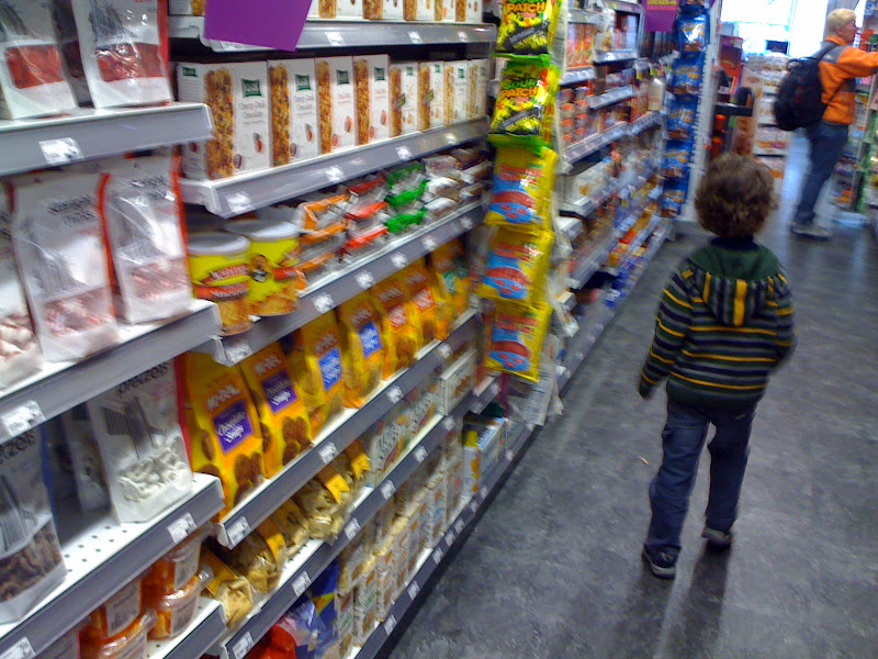 Photo: Harrison went down an aisle determined to get me to pick up snacks.