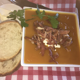 Tomato and Bacon Soup, so good! by Dawn Simpson - Food & Drink Plated Food ( bacon, soup, hearty, warming, soup bowls, winter, tomato )