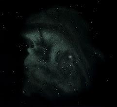"""Photo: NGC2174, la nébuleuse de la """"tête de singe"""", dans les Gémeaux. Dessin au T400 à 88X avec filtre OIII, au col des Tentes (Pyrénées, 2200m). 29 octobre 2016. La petite nébulosité qui nimbe l'étoile à droite a été vue sans filtre."""