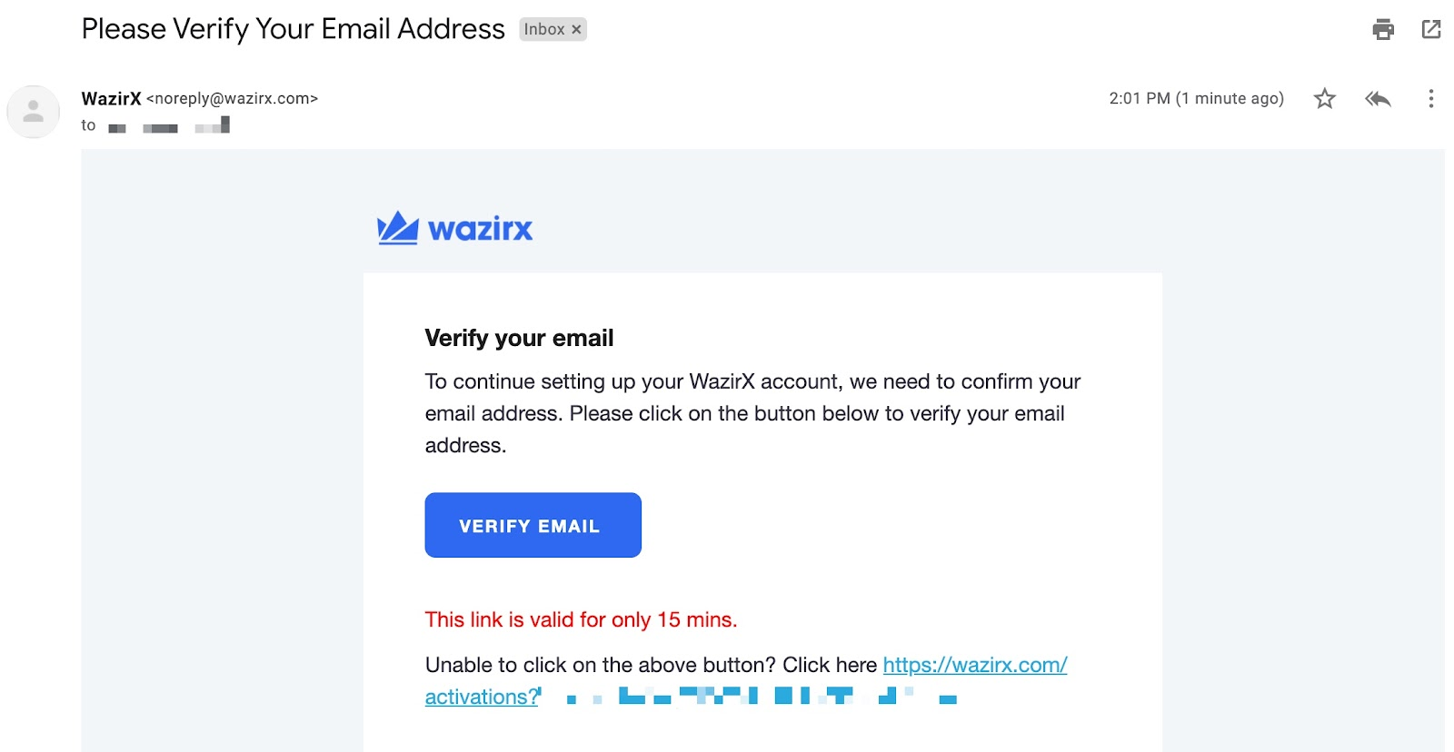 verifying email address page