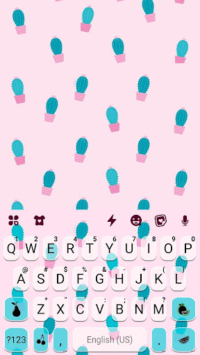 Pink Simple Cactus Keyboard Theme 1.0 screenshots 5
