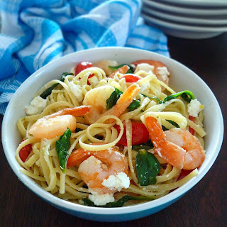 Linguine with Shrimp Spinach & Goats Cheese.