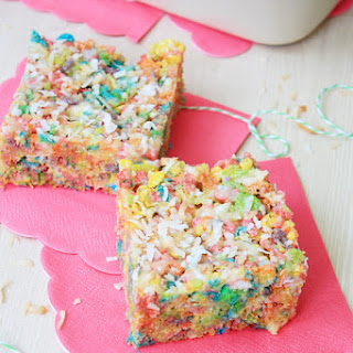 Toasted Coconut Marshmallow Fruity Pebbles Treats