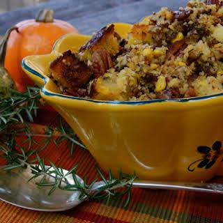 Thanksgiving Cornbread Stuffing Recipe with Sherried Mushroom Sauté {Gluten-Free}.