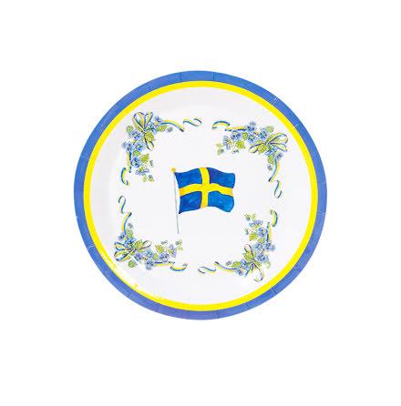 Svenska flaggan Tallrikar 8st.