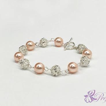 [PLS015] 粉紅珍珠銀花手鏈