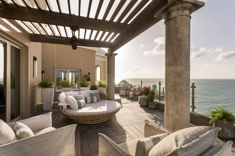 The veranda of the Penthouse Suite at Seven South at the Ritz-Carlton Grand Cayman.