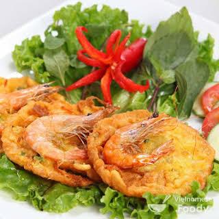 Description Vietnamese Sweet Potato Shrimp Fritters (Bánh Tôm).