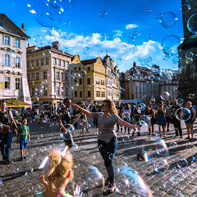 Bubbles in Prague by Arif Sarıyıldız - City,  Street & Park  Street Scenes ( czech republic, bubbles, prague, travel photography )