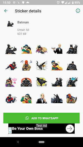 Trendy Batman Stickers (WAStickerApps) screenshot 2
