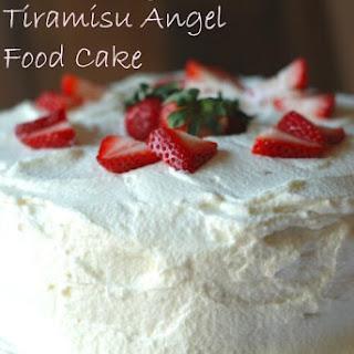 Strawberry Tiramisu Angel Food Cake.