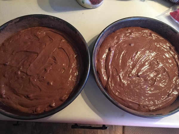 Evenly divide cake mix between the pans (about 2 1/2 cups each) smooth and...