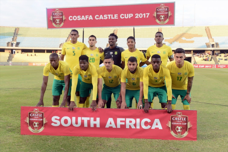 South Africa team during the COSAFA Cup quarter final match between Bafana Bafana and Tanzania at Royal Bafokeng Stadium on July 02, 2017 in Rustenburg, South Africa.