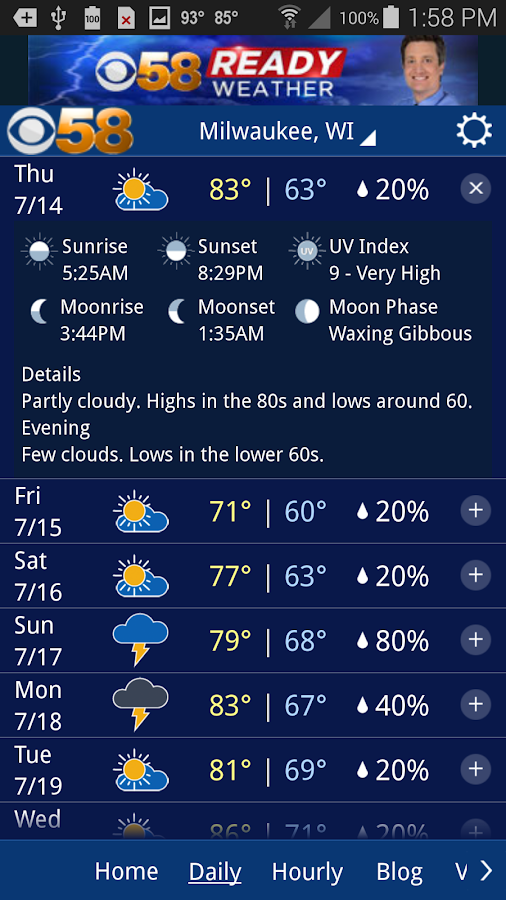 CBS 58 Ready Weather- screenshot