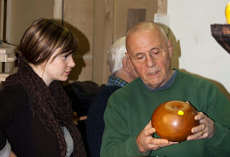 Photo: Panelists Jaimianne Amicucci and Patrick O'Brien discuss an apple-shaped hollow form (dotted for photography).