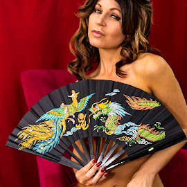 Fan Shoot by Robert Smith - Nudes & Boudoir Artistic Nude ( fan shoot, black, dragon, red and pink background., colorful, fans )