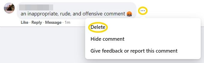 delete comments on Facebook