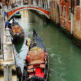 Les gondoles à Venise by Gérard CHATENET - City,  Street & Park  Historic Districts