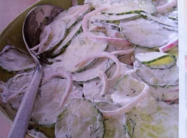 Creamy Dill Flavored Cucumber Salad