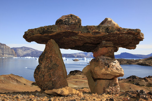 A rock formation in Disko Bay, Greenland.