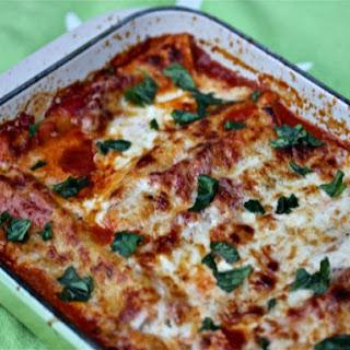 Spinach Cannelloni In Tomato And Crème Fraîche Sauces.