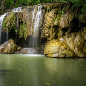 Erawan Waterfalls by Toni Laird - Landscapes Waterscapes ( waterfalls, waterfall, lake, landscapes, landscape, river )