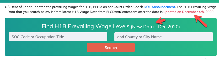 H1B Prevailing Wages Search Box updated