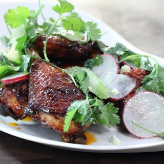 Crispy, Smoked Chicken Wings and Legs, Cilantro, Lime and Sriracha and a Celery and Radish Salad.