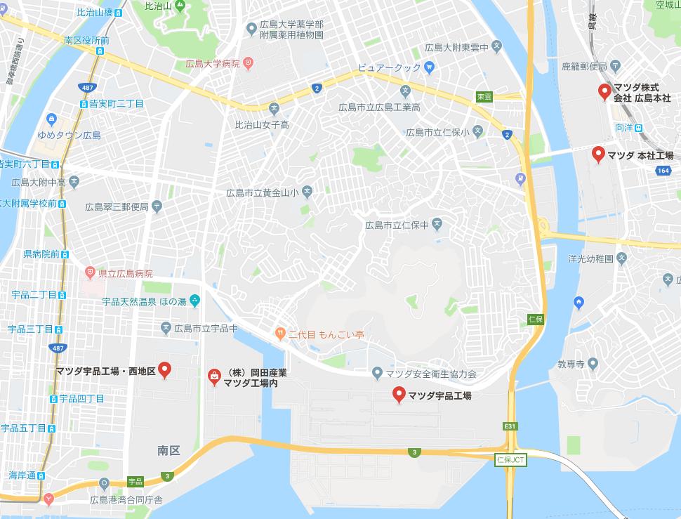 マツダ広島工場マップ