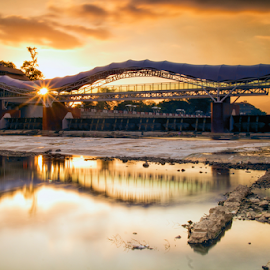 Bridge Reflection by Nugroho Kristanto - Buildings & Architecture Bridges & Suspended Structures ( reflection, sunset, bridge, indonesia, landscape )