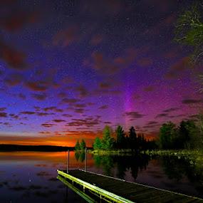 Aurora at Sunset by Shixing Wen - Landscapes Sunsets & Sunrises ( duluth, minnesota, night photography, boulder lake, sunset, northern lights, aurora, nature photography )