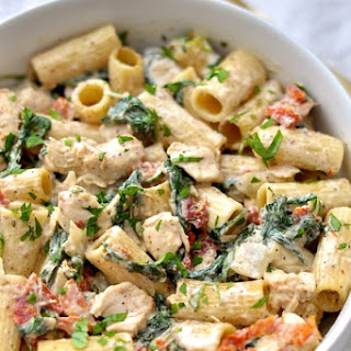 Dijon Chicken Pasta with Sun Dried Tomatoes and Spinach.