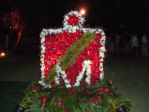 Photo: Ironman symbol made out of native Hawaiian flowers