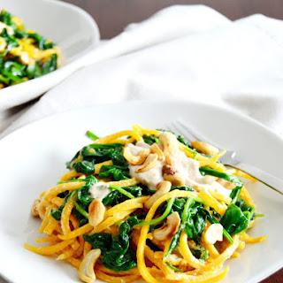 Butternut Squash Noodles with Spinach & Cashew Sauce (Vegan, Gluten Free)
