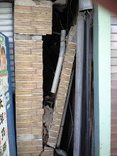 Photo: A collapsed wall and other damage from the earthquake in Fukushima City, Japan. *Photo credit: Cindy Charlton*