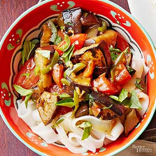 Thai Eggplant with Basil and Tomatoes.
