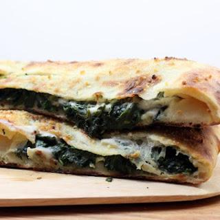 Spinach Garlic Stuffed Pizza Recipe