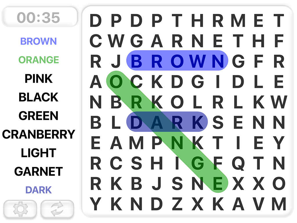 Word Search Games in english- screenshot