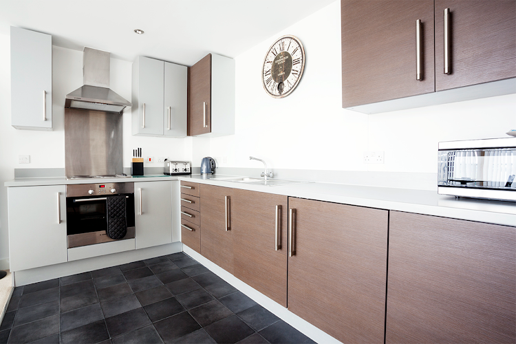 Fully equipped kitchen at Vizion Apartments