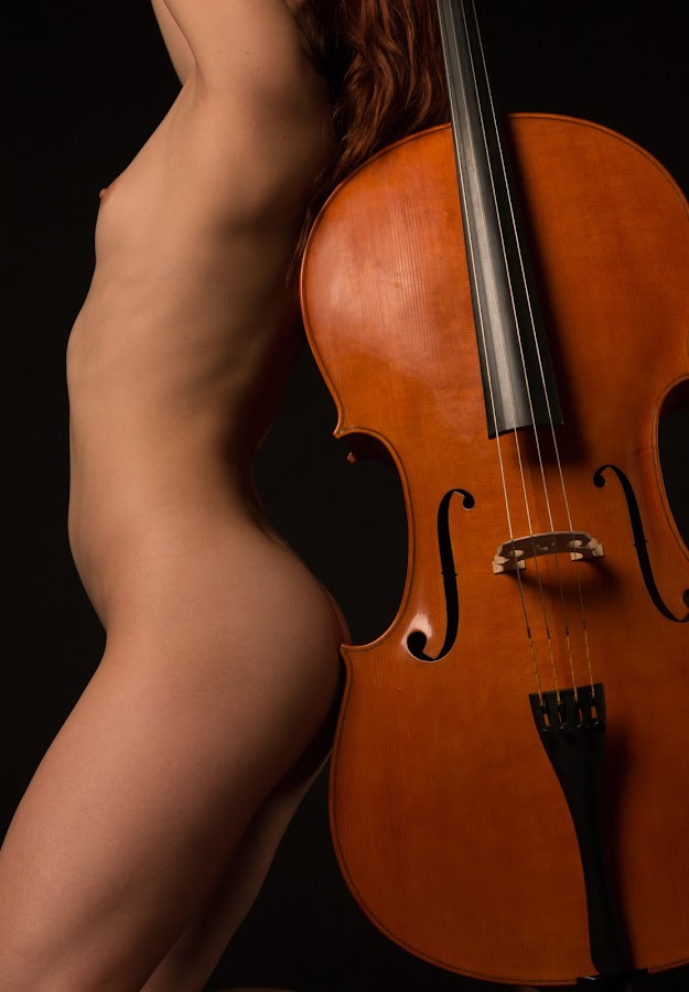 SideBySide by Mario Horvat - Nudes & Boudoir Artistic Nude ( breast, black background, studio, musical instrument, girl, naked, violoncello,  )