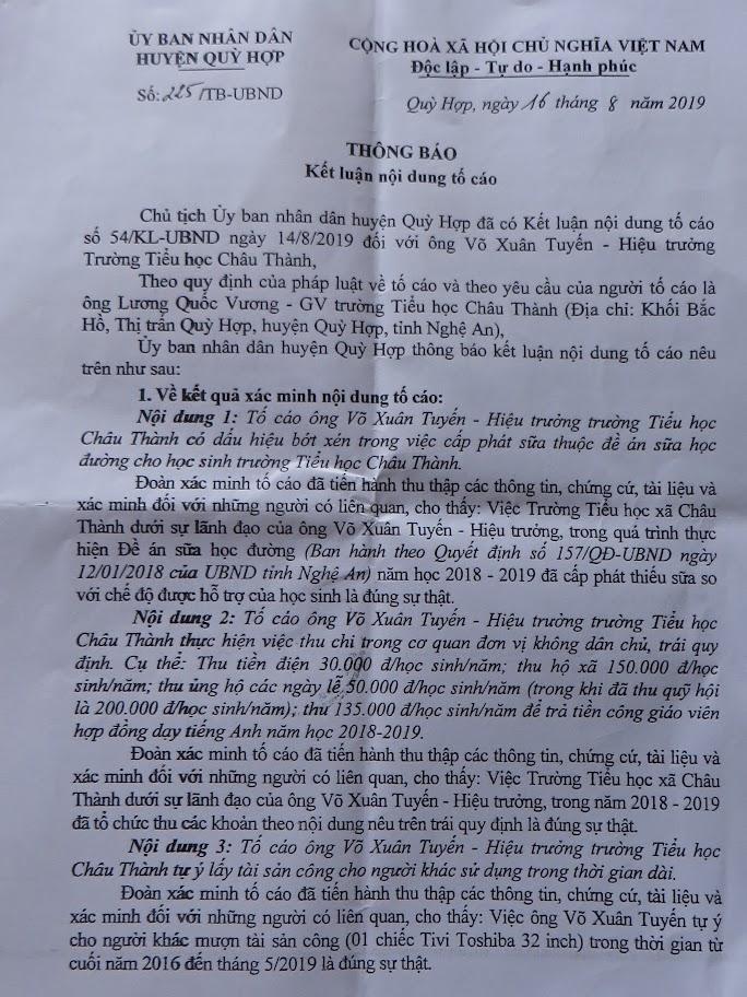 Kết luận nội dung tố cáo  sai phạm của Hiệu trưởng Trường Tiểu học  Châu Thành, huyện Quỳ Hợp