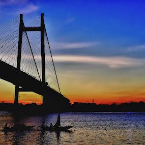 Kolkata- City of Joy by Subroto Mukherjee - Landscapes Travel ( ganga, sunset, lanscape, places, bridge, boat, river )