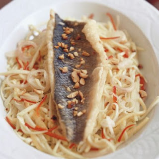 Healthy Sea Bass over Cabbage
