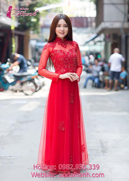 áo dài cưới màu hồng phấn