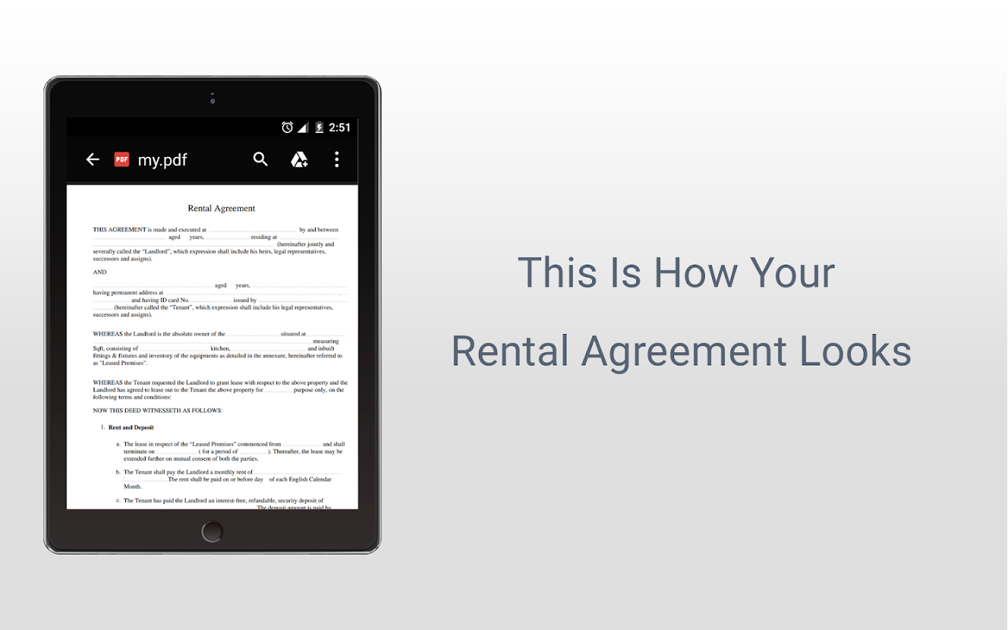 Rental Agreement- screenshot
