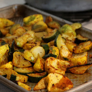 Cumin and Smoked Paprika Quinoa with Roasted Summer Squash and Chick Peas