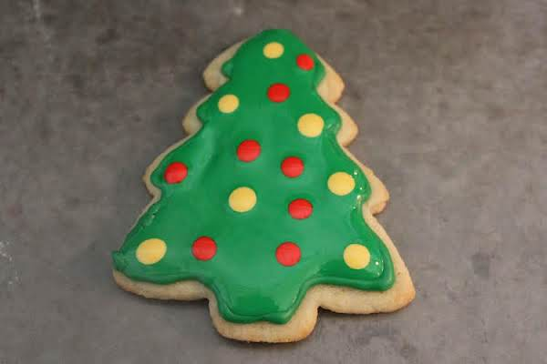 Green Cookie Tree Decorated With Royal Icing For Christmas