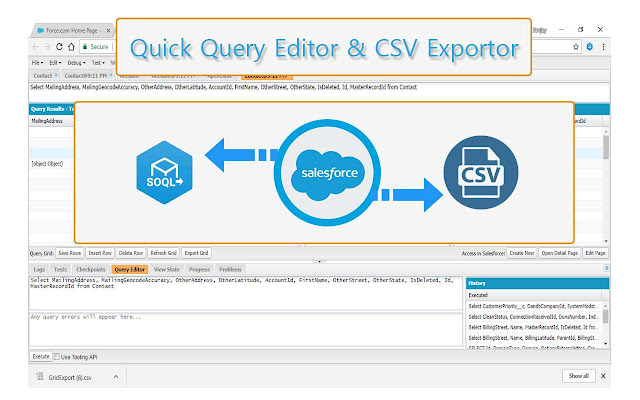 Quick Query Editor and CSV Exporter